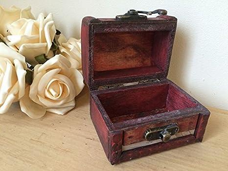 Mini en bois Coins Bo/îte de rangement tr/ésor de pirate poitrine Bijoux Boutons de manchette Anneau petit cadeau Case Antique Vintage Map Design