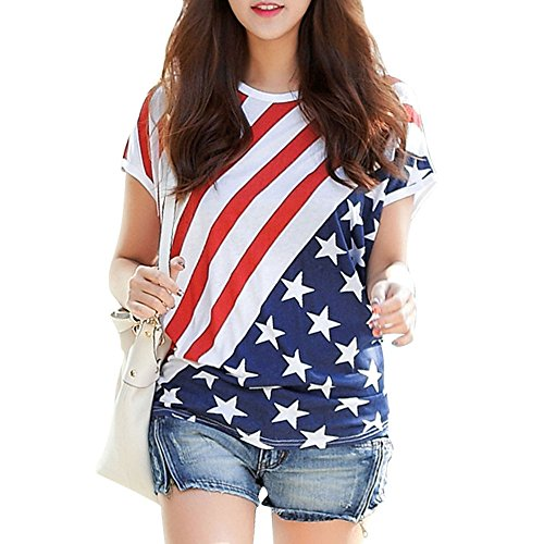 Little Hand Womens American Flag Striped Short Sleeve Loose Blouse T-Shirt 4th of July USA Flag Tops