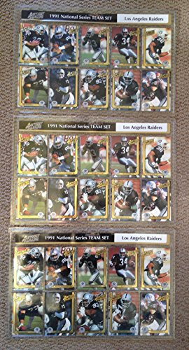 3x 1991 Action Packed Raiders Football Card Complete Set Marcus Allen Bo Jackson