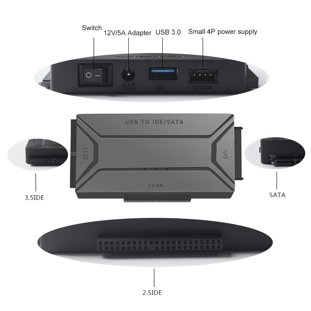 Amazon.com: Convertidor de disco duro USB 3.0 a SATA & IDE ...