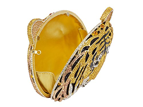 Lady Dazzle Full Diamond Clutch Tiger Head Evening Bag Bling Rhinestone Chain Cross Body Bag Animal Purse (Gold 1) by nice--buy (Image #5)
