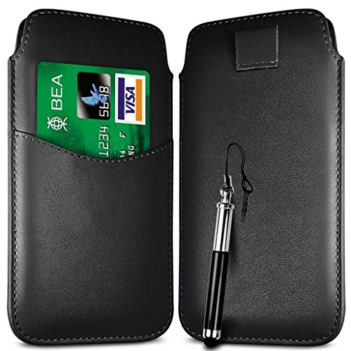 N4U Online - Carte Apple Iphone 5C emplacement premium PU Pull en cuir flip Tab Housse Etui et Stylet rétractable - Noir