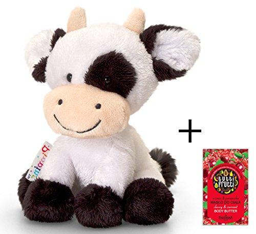 Plüschtier Kuh Daisy, schwarz - weißes Kälbchen, Kuscheltier Pippins ca. 14 cm im Set mit Bodybutter Kirsche - Johannisbeere, 7ml