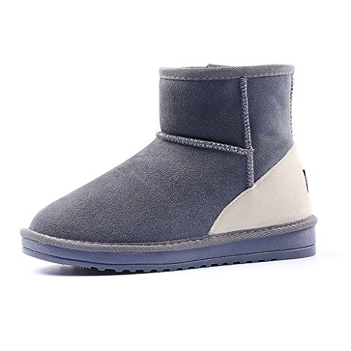 Ladies snow boots winter color matching students short boots non-slip thicking leather flat shoes ( Color : Gray , Size : US:6.5\UK:5.5\EUR:38 )
