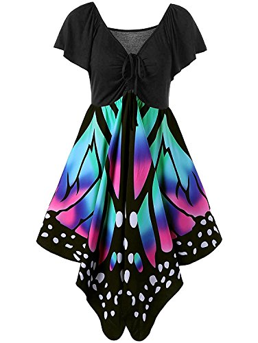 Imysty Plus Size Women's Butterfly Print Lace Up Empire Waist Short Sleeve V Neck Midi Dress (XXX-Large, Blue)