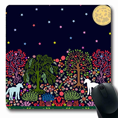 Ahawoso Mousepads Moon Green Garden Fantasy Night Magic Forest Folk Unicorns Parks Pink Willow Abstract Nouveau Design Oblong Shape 7.9 x 9.5 Inches Non-Slip Gaming Mouse Pad Rubber Oblong Mat