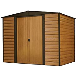 Garden and Outdoor Arrow Woodridge Low Gable Steel Storage Shed, Coffee/Woodgrain 8 x 6 ft. outdoor storage sheds