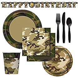 FAKKOS Design Military Camo Hunting Fishing Party Supplies for 16 Guests Includes: Large Plates, Small Plates, Napkins, Cups, Large Birthday Banner and 48 Piece Premium Plastic Cutlery Set
