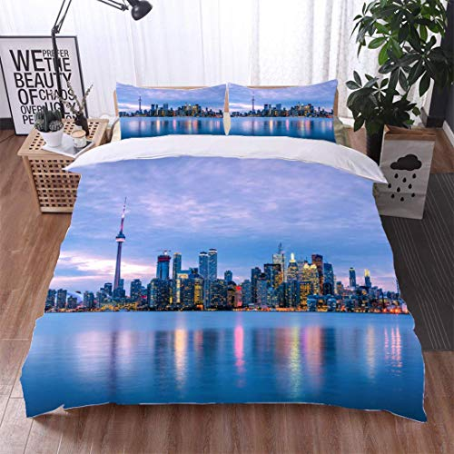 VROSELV-HOME Bedspread Set Queen Size,Toronto Skyline Under Cloudy Sky at Dusk,Soft,Breathable,Hypoallergenic,Kids Bedding-Does Not Shrink or Wrinkle