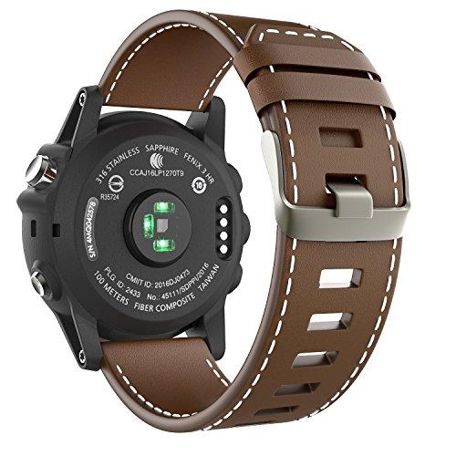 MoKo Band Compatible with Garmin Fenix 3, Premium Genuine Leather Replacement Watch Band Fit Garmin Fenix 3/Fenix 3 HR/Fenix 5X/5X Plus/D2 Delta PX/Descent mk1 Smart Watch, Brown