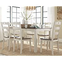 Ashley Woodanville D335-425 7-Piece Dining Room Table Set with Brown Tabletops and Contoured Stool Seats with Legs in