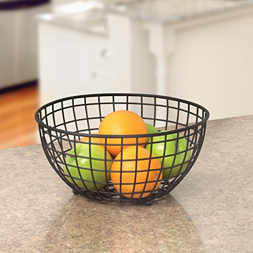 Spectrum Diversified Grid Fruit Bowl, Black (Steel Grid Bowl)