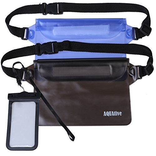 Weatherproof Camera Pouch (Waterproof Pouch with Waist/Shoulder Strap 2 Pack-Black and Blue | Keep Your Phone and Valuables Safe and Dry | (2porch(Black&Blue) + case))