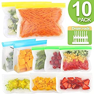 OurWarm Reusable Storage Bags 10 BPA Silicone Food Storage Bags(3 Reusable Sandwich Bags, 3 Reusable Snack Bags, 2 Gallon Freezer Bags, 2 Reusable Ziplock Bags) Leakproof Lunch Bags, Free Drain Rack