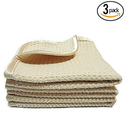 """(3-Pack) **SPECIAL SALE** LUXURY BEAUTY & SPA 11"""" x 11"""" Premium Suede Microfiber Waffle-Weave Exfoliating Facial Towels with Silky Satin Border - THE RAG COMPANY"""