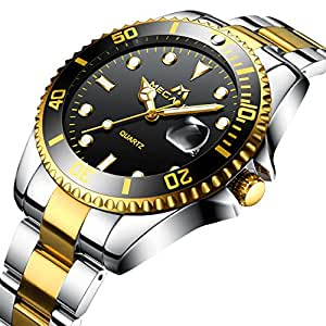 Relojes Hombre Acero Inoxidable Reloj de Pulsera de Lujo Moda Impermeable Fecha Calendario Clásicos Analogicos Reloj de Cuarzo para Hombres Negocio Casual con Dial Grande Negro Correa de Plata Oro