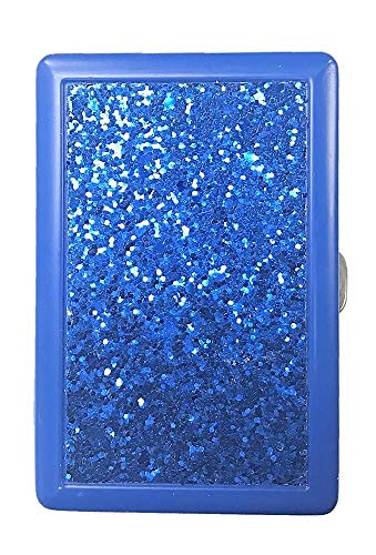 - Eclipse Blue Glitter Metal Cigarette Case Fits Kings and 100's, 3101GL-BL-1
