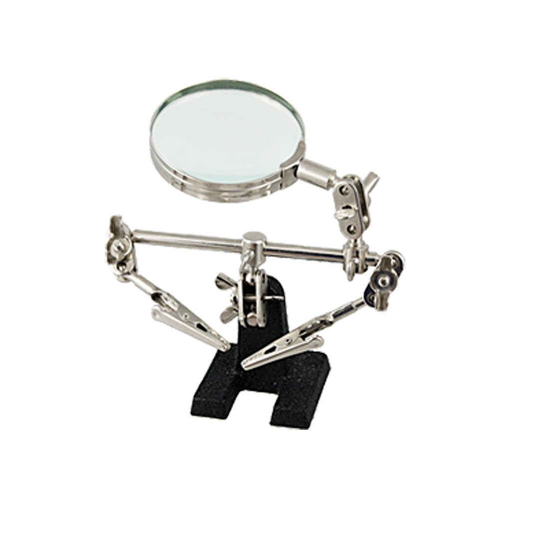 Black Stand Rotary 2.5'' Lens Magnifying Glass w Alligator Clips