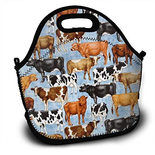 Dejup Lunch Bag Farm Cow Tote Reusable Insulated Lunchbox, Shoulder Strap with Zipper for Kids, Boys, Girls, Women and Men -