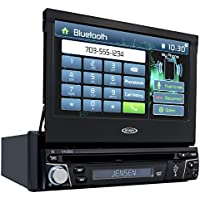 Jensen VX3012 7 inch Multimedia Retractable Touch Screen Single DIN Car Stereo with Bluetooth & Built-In DVD/USB Ports