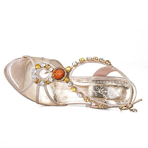 Ladies Metalornament Unique Platform Ruched Gold Sandals Sheepskin Adee daIUqwd