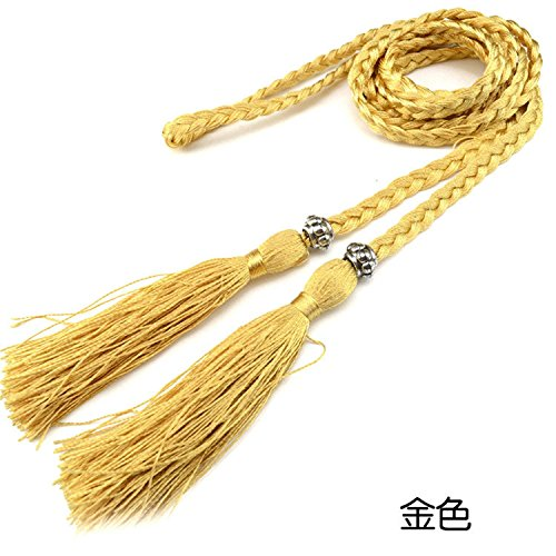 Braided Gold Tassel (Mainstream Women Womens Braided Belt Female Casual Bowknot Rope Fine Woven Ladies With Tassels,160cm,Gold)