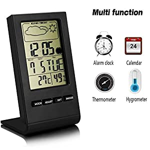 LinGear Thermo-hygrometer LCD Temperature Moisture Meter with Data Storage Function, Multi-functional Thermohygrometer Indoor Humidity Monitor Digital Hygrometer with Alarm Clock