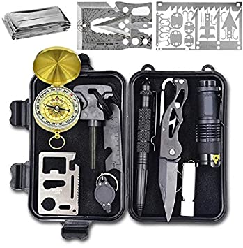 Wild Peak Prepare-1 Survival Tool Kit with Axe Multi-Tool Card and a Thin Multi-Tool Card for Camping Gear, Hiking, Climbing, Fishing and Hunting