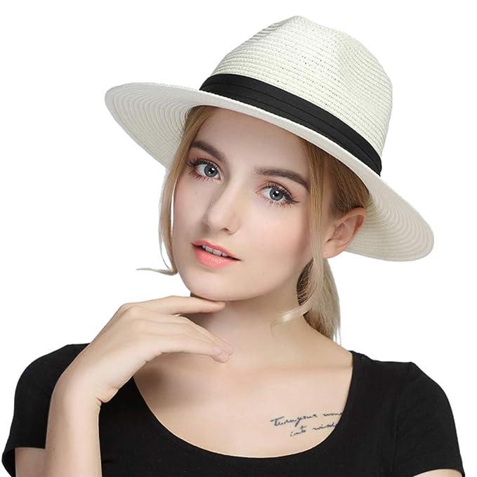 c563ffe82db Taylormia Womens UPF 50+ Wide Brim Panama Straw Hat Foldable Fedora Beach  Sun Hat Beige
