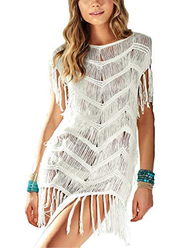 QIUYEJUO Women's Crochet Swimsuit Beach Cover Up Loose Fringe Bathing Suit Bikini Dress