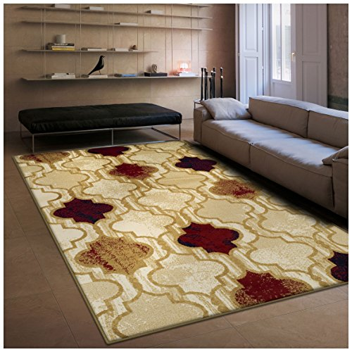 ng Collection, 8mm Pile Height with Jute Backing, Geometric Trellis Pattern, Anti-Static Area Rugs - Beige, 4' x 6' Rug (Geometric Pattern Rugs)