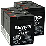 Carpenter Watchman 713526 Battery 6V 4.5Ah Fresh & Real 4.5Amp AGM/SLA Rechargeable Replacement Designed for Lighting - Genuine KEYKO - F1 Terminal - 6 Pack