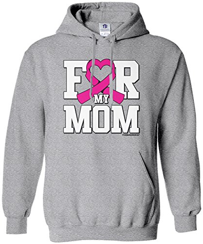 Threadrock Women's for My Mom Breast Cancer Awareness Hoodie Sweatshirt 2XL Sport -