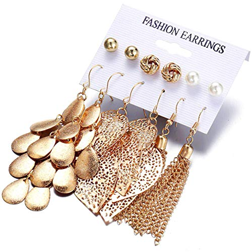 Gold tassel earrings, Gold thick love knot post earrings,New earrings of pearl ball piercing earrings, Set hollow leaf woven earrings,Brushed satin gold plated dangle earrings, Women gifts ect