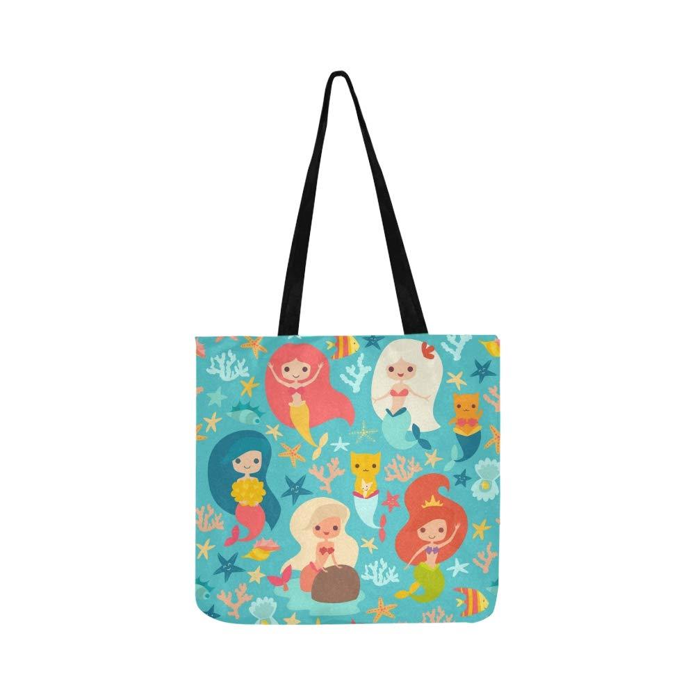 Mermaids Girls Cute Cartoon Canvas Tote Handbag Shoulder Bag Crossbody Bags Purses For Men And Women Shopping Tote