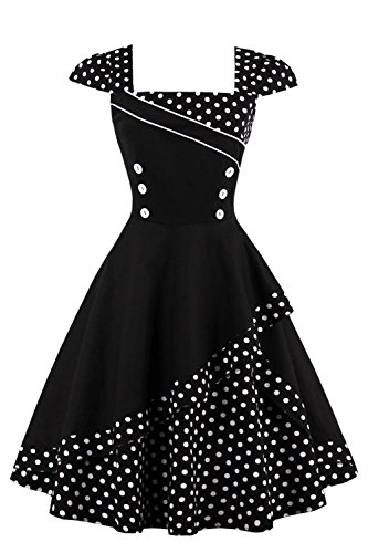 Dress Cap Cocktail Dot for Tea Black Sleeve Swing Women Polka Dresses Party 5ZvwqUxYw