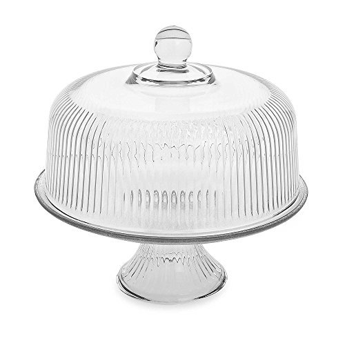 monaco-clear-ribbed-dome-cake-set-includes-wide-wale-interior-ribbing-on-the-stand-and-lid