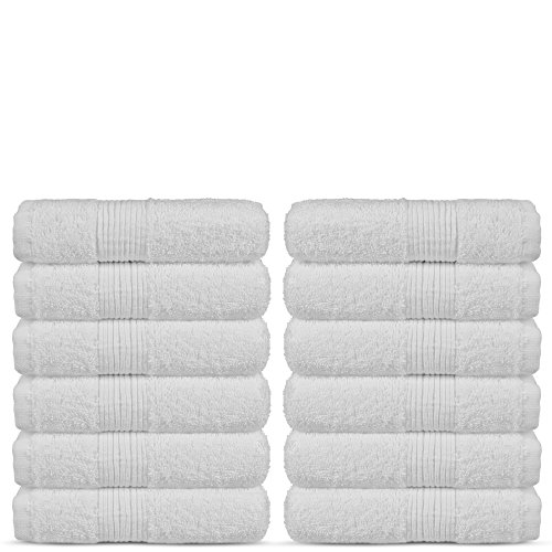 - Luxury Premium Long-Stable Turkish Cotton Washcloth for Bathroom-Hotel-Spa-Kitchen - Highly Absorbent Eco-Friendly Quality Face Towels-Bulk Set of 12 (White)