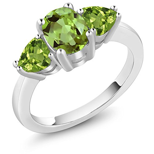 Ring Peridot Genuine Stone (2.11 Ct Oval Green Peridot Gemstone 925 Sterling Silver Women's 3 Stone Ring)
