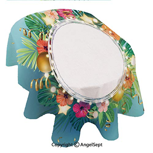 100% Polyester Floral Print Tablecloth Waterproof,Chrismas on he Summer Beach Design wih monsera Palm leaes Hibiscus Flowers Xmas Balls and go 60x120inch,Decorative Table Top Cover for Kitchen Dinin