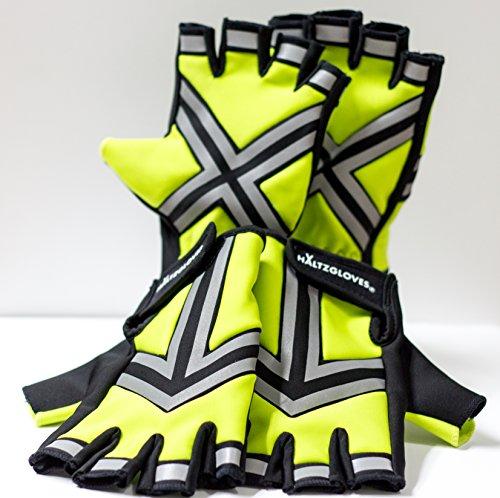 HALTZGLOVES Nighttime High Density High Visibility Reflective Fingerless Gloves (XX- large)