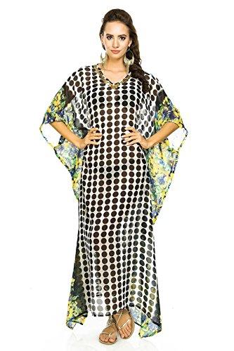 Damen Voller Länge Kimono Maxi Sommer Strand Kaftan Kleid Tunika ...