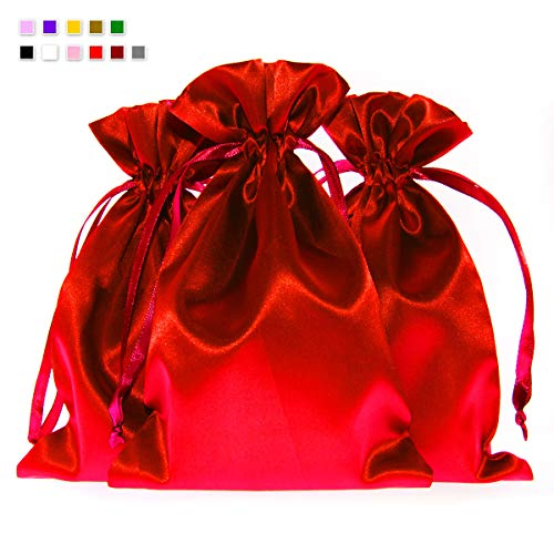 Knitial 3″ x 4″ Red Satin Gift Bags, Jewelry Bags, Wedding Favor Drawstring Bags Baby Shower Christmas Gift Bags 50 per Pack