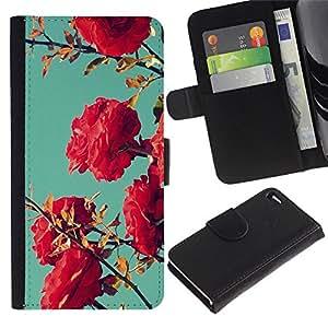 For Apple iPhone 4 / iPhone 4S,S-type® Bush Pink Red Teal Sky Nature Blue - Dibujo PU billetera de cuero Funda Case Caso de la piel de la bolsa protectora