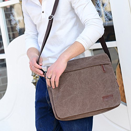 Young Men Brown Computer Handbags Canvas Bag Ming Messenger Shoudler Male Briefcase amp; Office gBwrWpgq