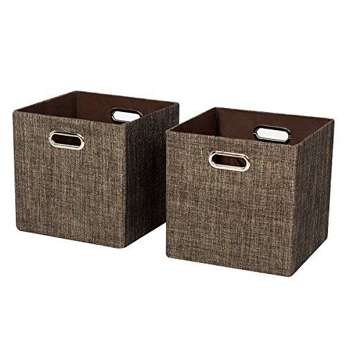 Posprica Foldable Storage Bins, Organizer Cubes Basket for Bedroom, Closet, Toys, Laundry (2, Brown) - Medicine Cabinet Shelf Divider
