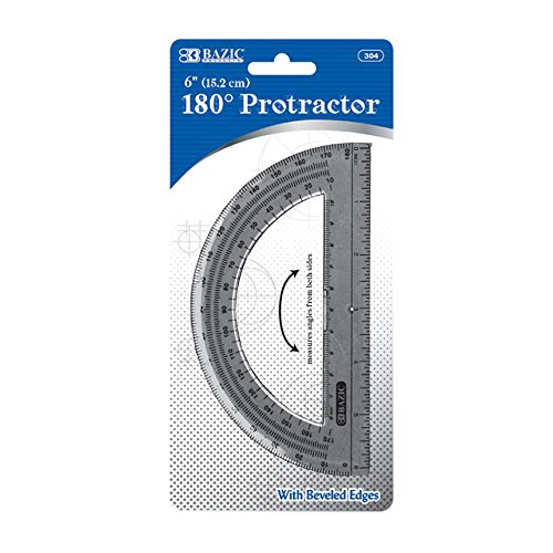 BAZIC Semicircular 6'' Protractor (Case of 288) by Bazic