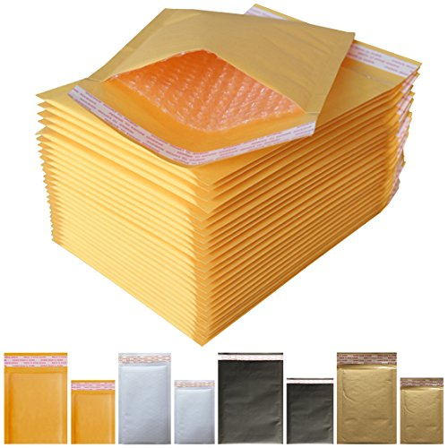 """Padded Envelopes Yellow Kraft Bubble Mailers 7x9 (Usable Space 6.2""""x9.0"""") Small Bubble Envelopes (70 Pack)"""
