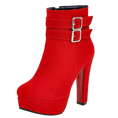 Botines tacón Altas Aguja Plataforma cuña Mujer Invierno Moda PAOLIAN Botas caña Medio Fiesta Rojas Botas Biker Terciopelo bajo Negras Comodos Zapatos ...