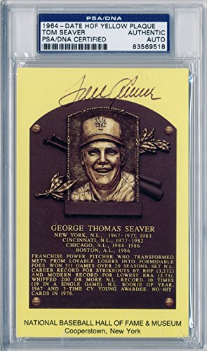 TOM SEAVER Signed Yellow HOF Plaque Postcard PSA/DNA Slabbed New York Mets Cincinnati Reds Chicago White Sox Boston Red Sox 1992 Hall of Fame Member